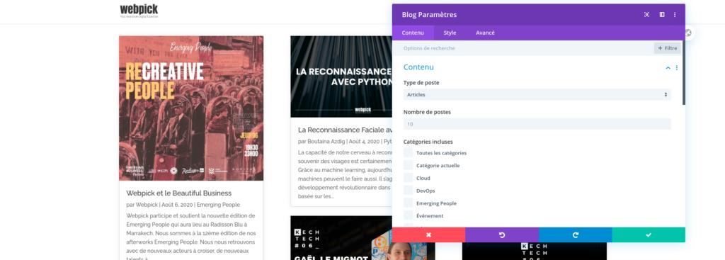 Créer la page de blog - Divi 5 - Webpick